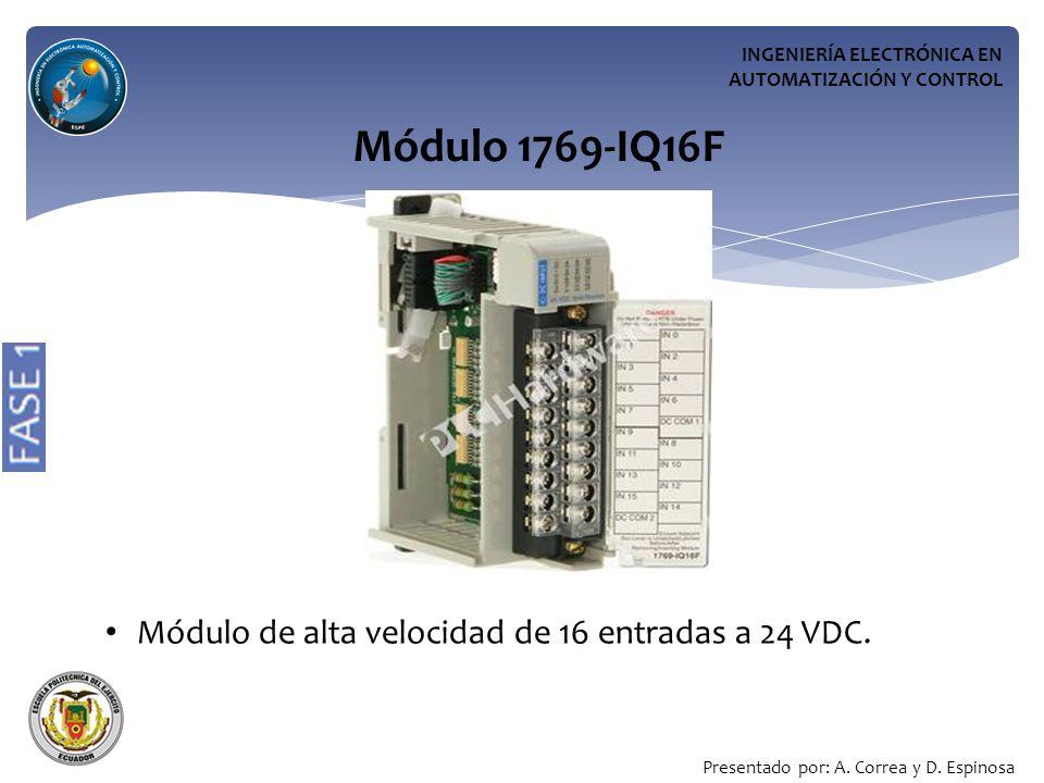 Módulo 1769-IQ16F Módulo de alta velocidad de 16 entradas a 24 VDC.