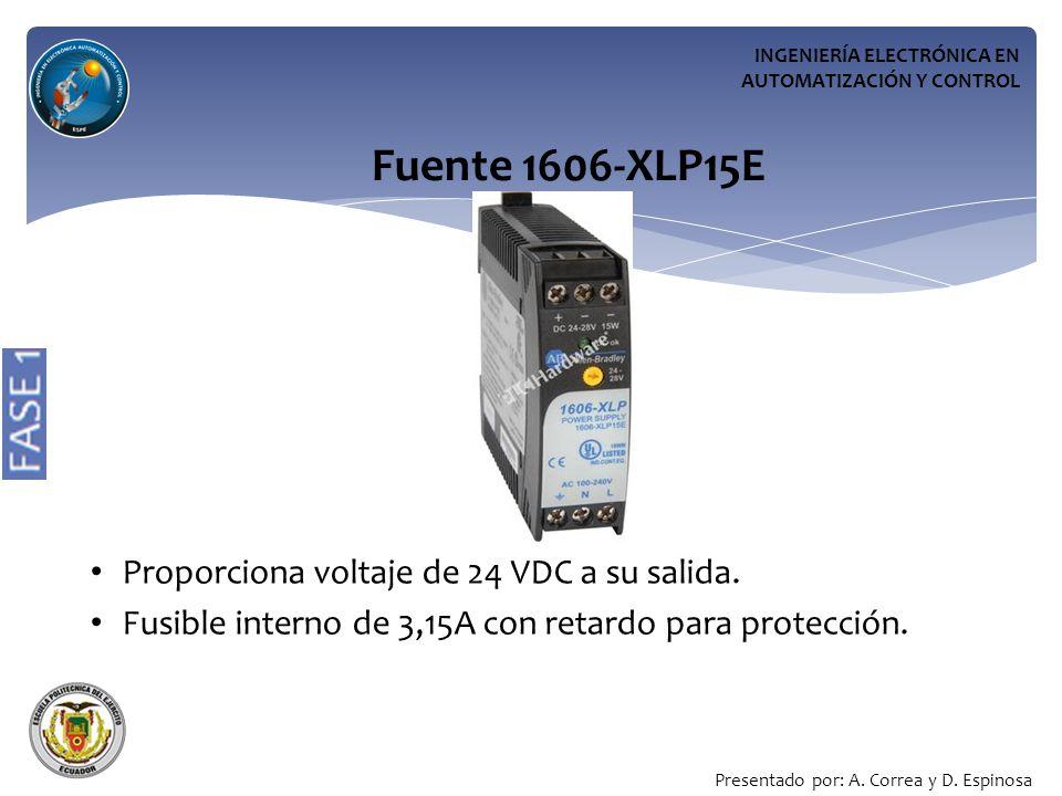 Fuente 1606-XLP15E Proporciona voltaje de 24 VDC a su salida.