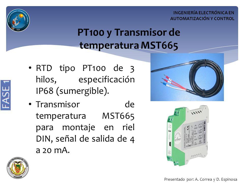 PT100 y Transmisor de temperatura MST665