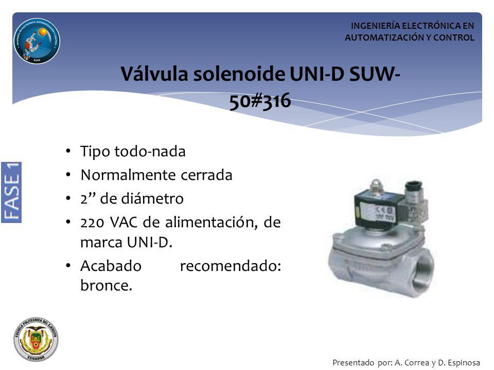 Válvula solenoide UNI-D SUW-50#316