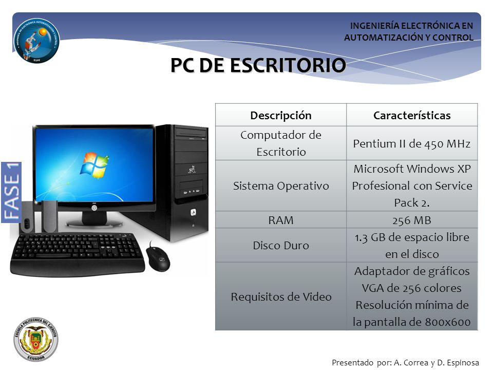 PC DE ESCRITORIO Descripción Características Computador de Escritorio