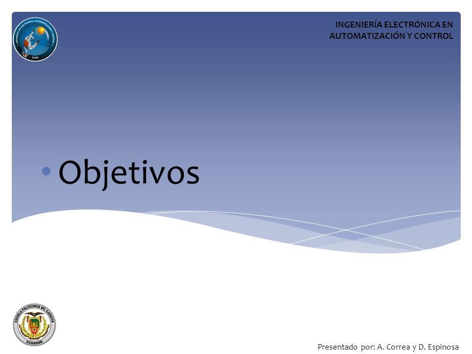 Objetivos INGENIERÍA ELECTRÓNICA EN AUTOMATIZACIÓN Y CONTROL
