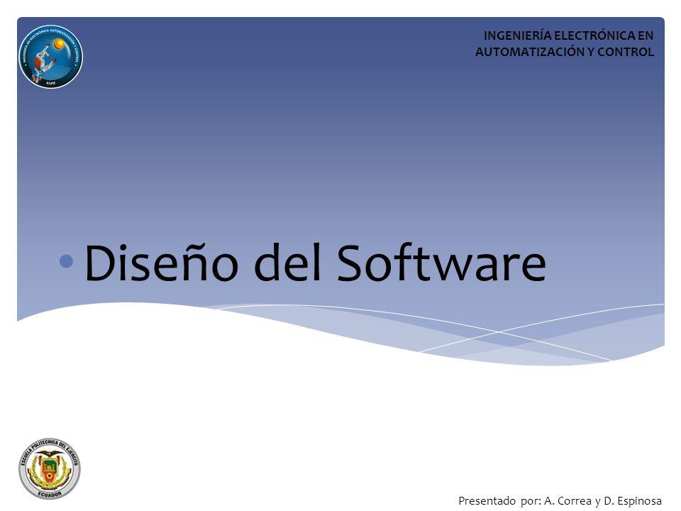 Diseño del Software INGENIERÍA ELECTRÓNICA EN AUTOMATIZACIÓN Y CONTROL