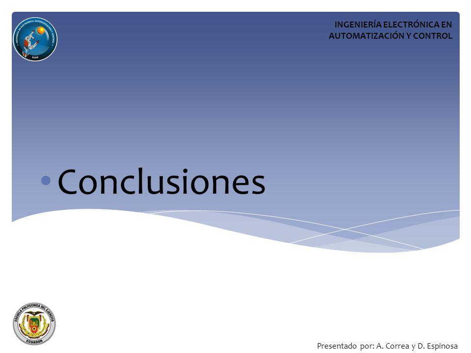 Conclusiones INGENIERÍA ELECTRÓNICA EN AUTOMATIZACIÓN Y CONTROL