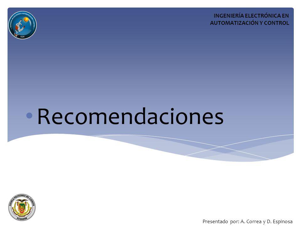 Recomendaciones INGENIERÍA ELECTRÓNICA EN AUTOMATIZACIÓN Y CONTROL