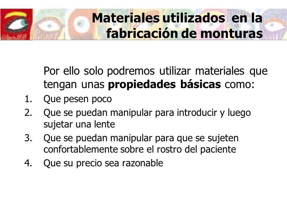 Materiales utilizados en la fabricación de monturas
