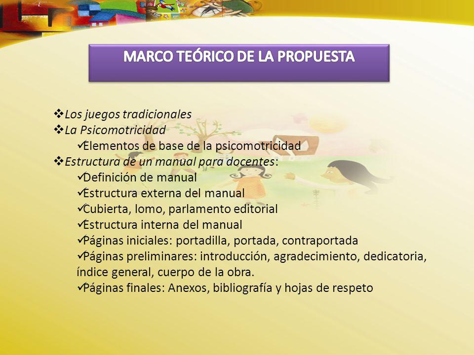 MARCO TEÓRICO DE LA PROPUESTA