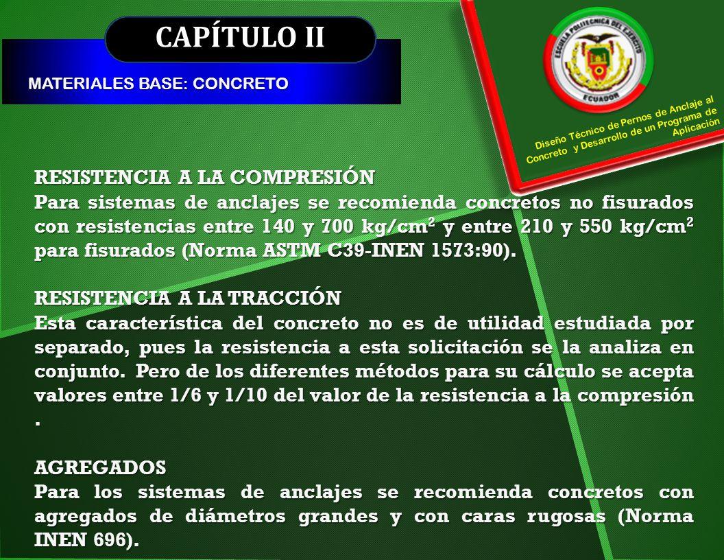 CAPÍTULO II RESISTENCIA A LA COMPRESIÓN