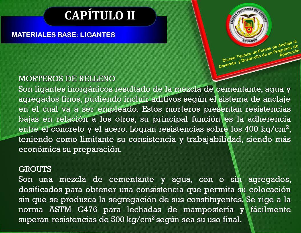 CAPÍTULO II MORTEROS DE RELLENO