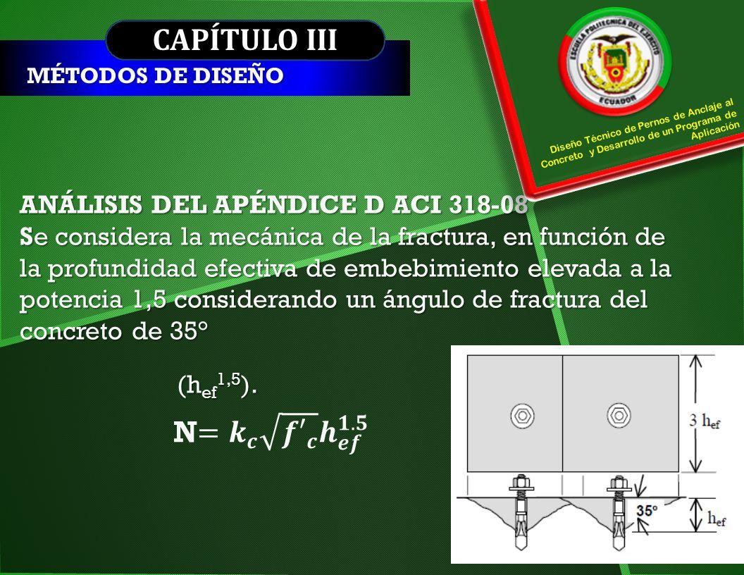 CAPÍTULO III N= 𝒌 𝒄 𝒇′ 𝒄 𝒉 𝒆𝒇 𝟏.𝟓 ANÁLISIS DEL APÉNDICE D ACI 318-08