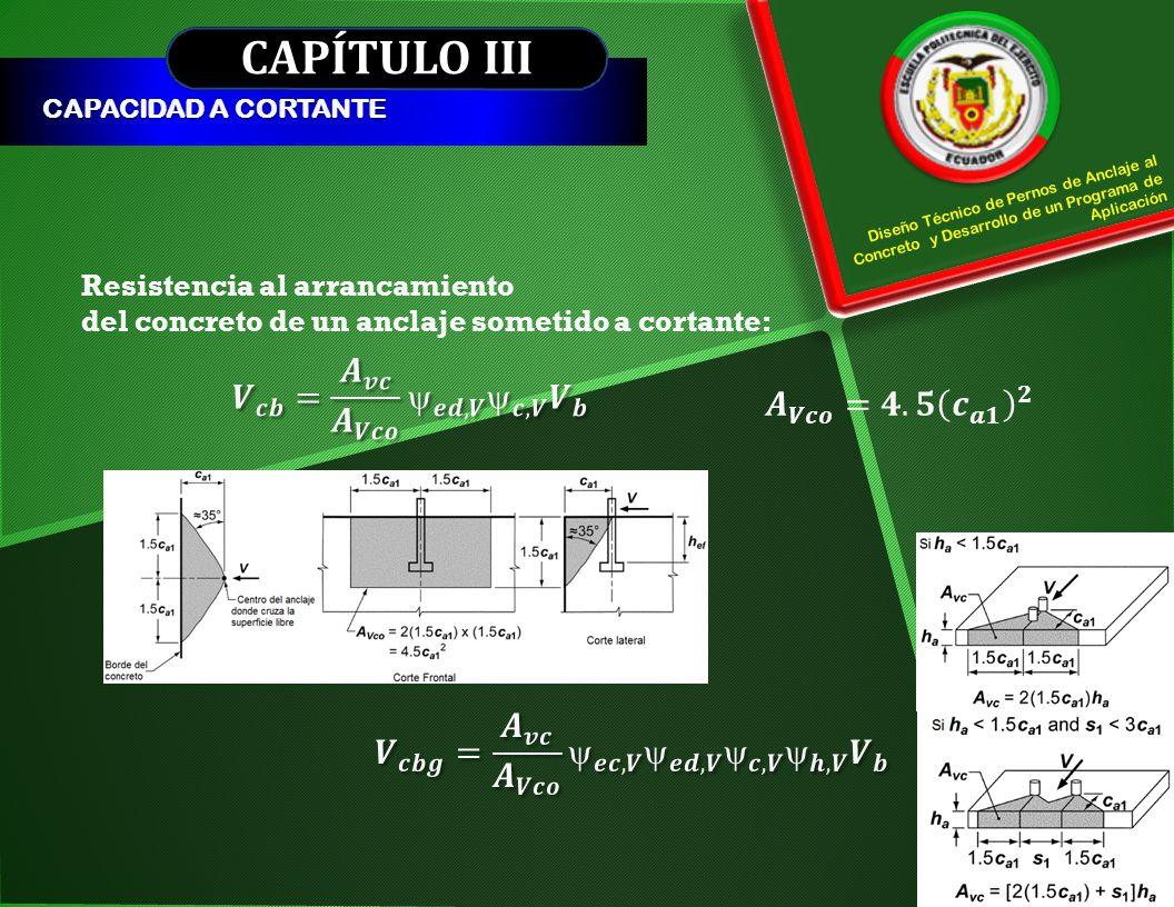 CAPÍTULO III 𝑽 𝒄𝒃 = 𝑨 𝒗𝒄 𝑨 𝑽𝒄𝒐  𝒆𝒅,𝑽  𝒄,𝑽 𝑽 𝒃 𝑨 𝑽𝒄𝒐 =𝟒.𝟓 𝒄 𝒂𝟏 𝟐