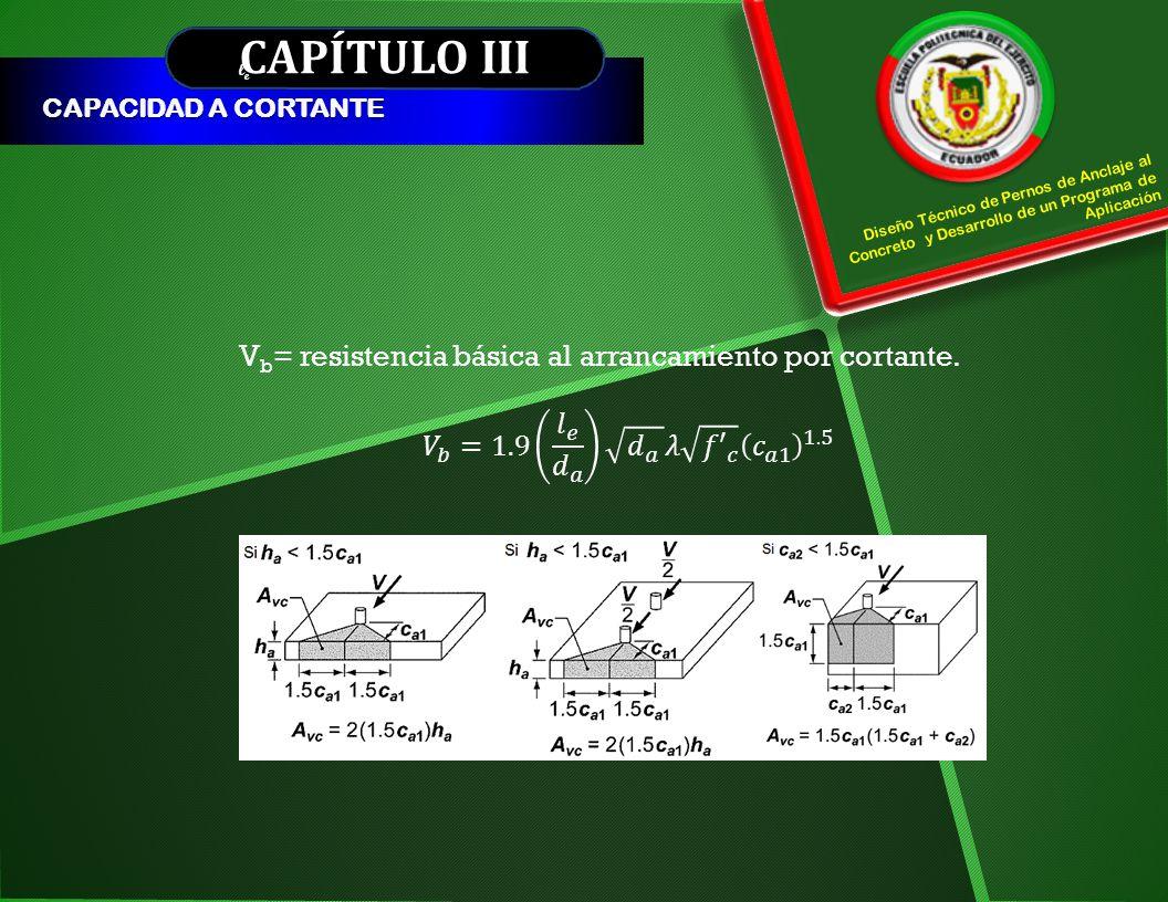 CAPÍTULO III Vb= resistencia básica al arrancamiento por cortante.