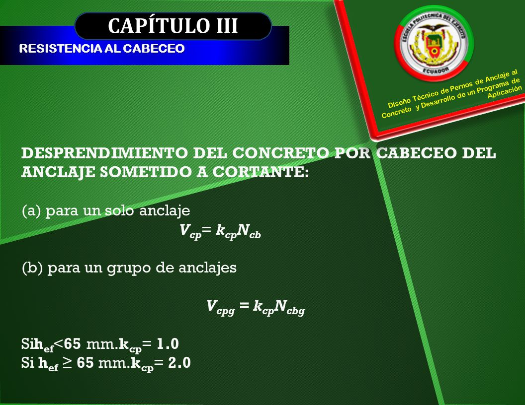 CAPÍTULO III RESISTENCIA AL CABECEO. Diseño Técnico de Pernos de Anclaje al Concreto y Desarrollo de un Programa de Aplicación.
