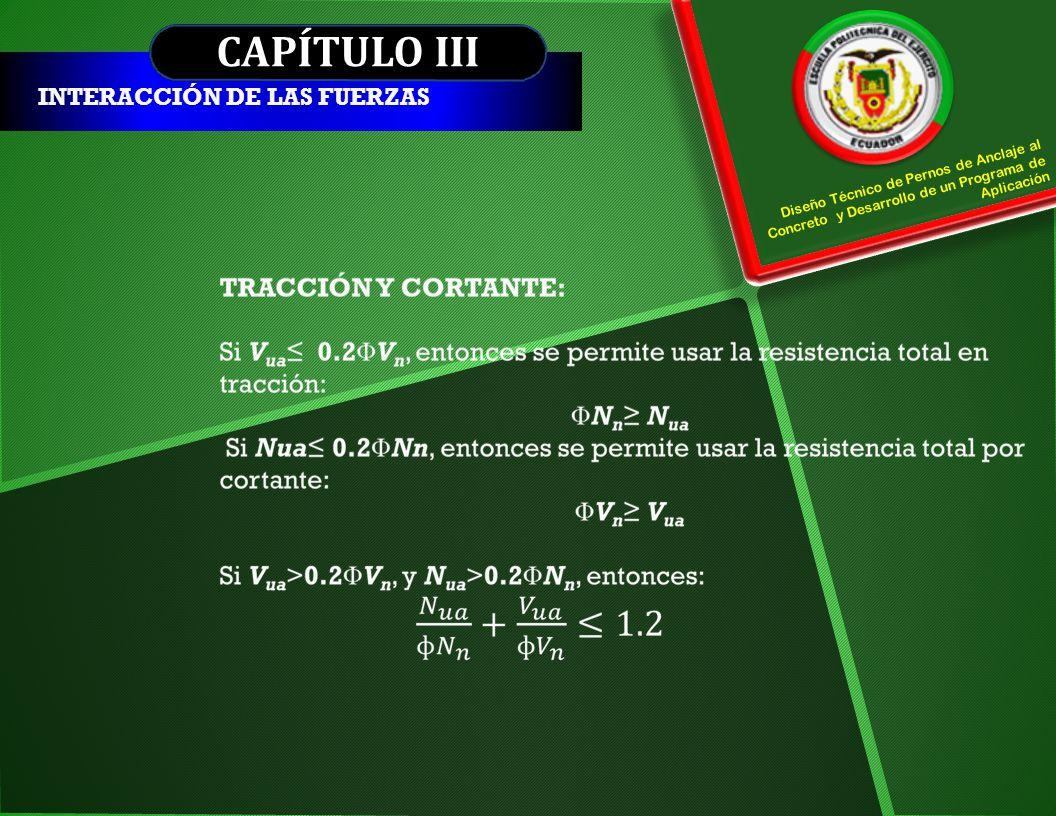 CAPÍTULO III INTERACCIÓN DE LAS FUERZAS