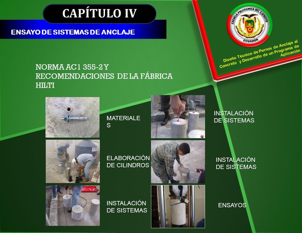 CAPÍTULO IV NORMA AC1 355-2 Y RECOMENDACIONES DE LA FÁBRICA HILTI