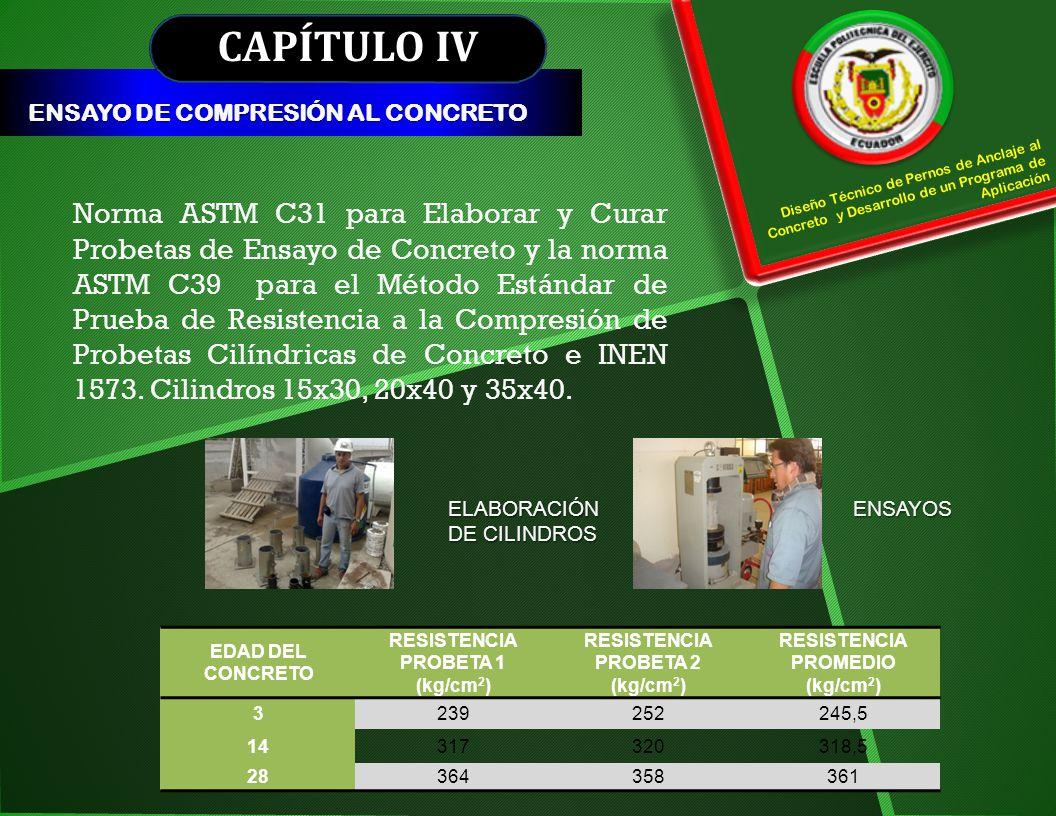 CAPÍTULO IV ENSAYO DE COMPRESIÓN AL CONCRETO. Diseño Técnico de Pernos de Anclaje al Concreto y Desarrollo de un Programa de Aplicación.