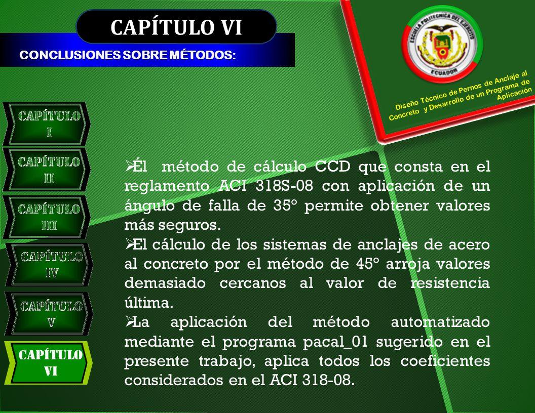CAPÍTULO VI CONCLUSIONES SOBRE MÉTODOS: Diseño Técnico de Pernos de Anclaje al Concreto y Desarrollo de un Programa de Aplicación.