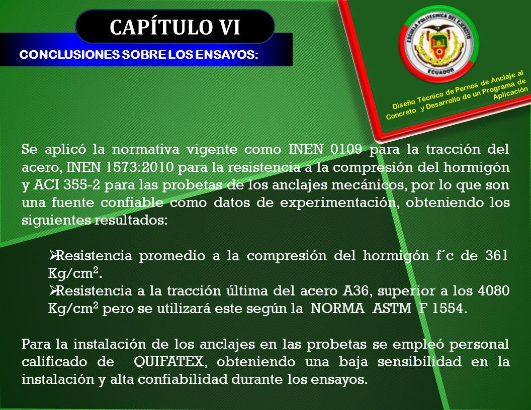 CAPÍTULO VI CONCLUSIONES SOBRE LOS ENSAYOS: Diseño Técnico de Pernos de Anclaje al Concreto y Desarrollo de un Programa de Aplicación.