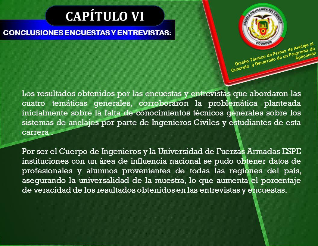 CAPÍTULO VI CONCLUSIONES ENCUESTAS Y ENTREVISTAS: Diseño Técnico de Pernos de Anclaje al Concreto y Desarrollo de un Programa de Aplicación.