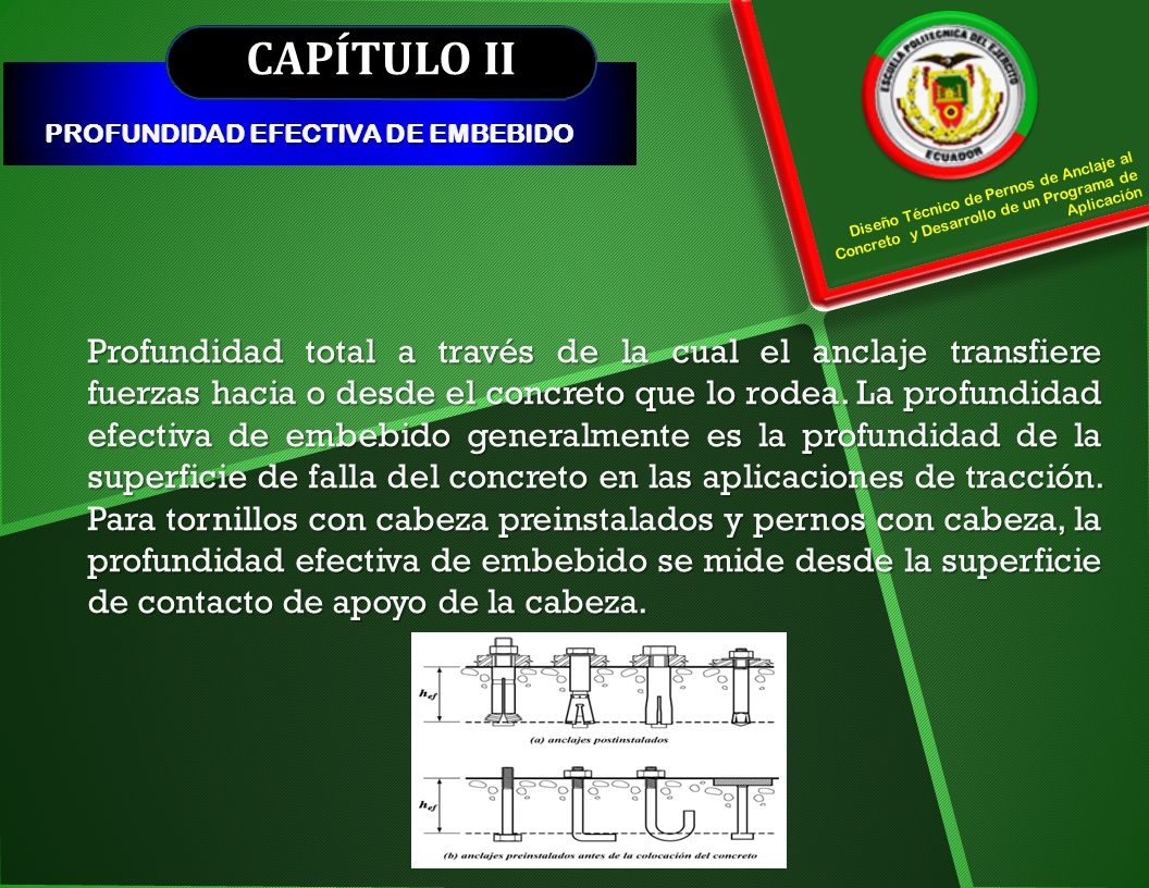 CAPÍTULO II PROFUNDIDAD EFECTIVA DE EMBEBIDO. Diseño Técnico de Pernos de Anclaje al Concreto y Desarrollo de un Programa de Aplicación.