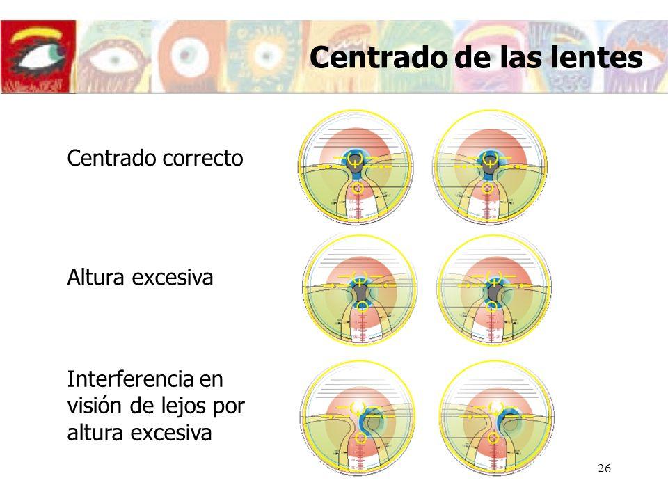 Centrado de las lentes Centrado correcto Altura excesiva