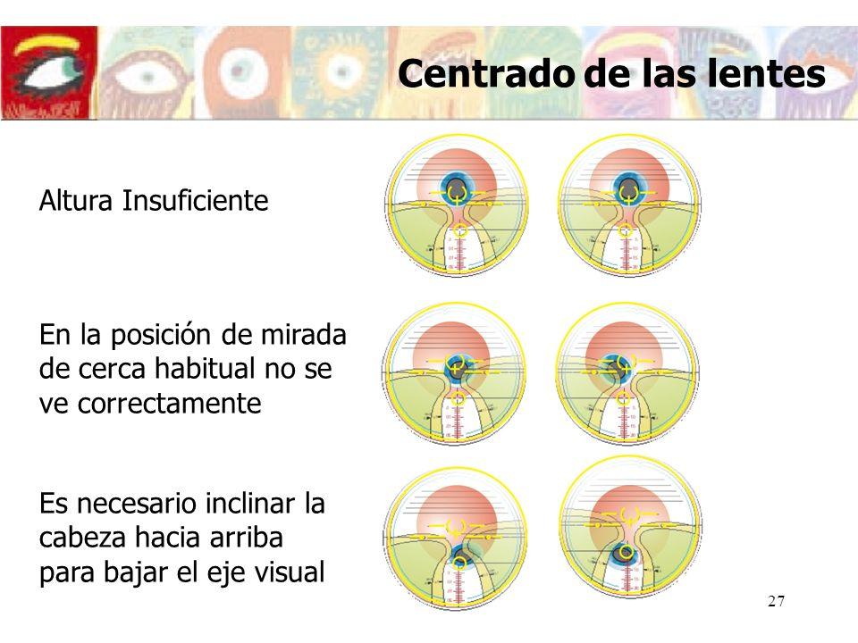 Centrado de las lentes Altura Insuficiente