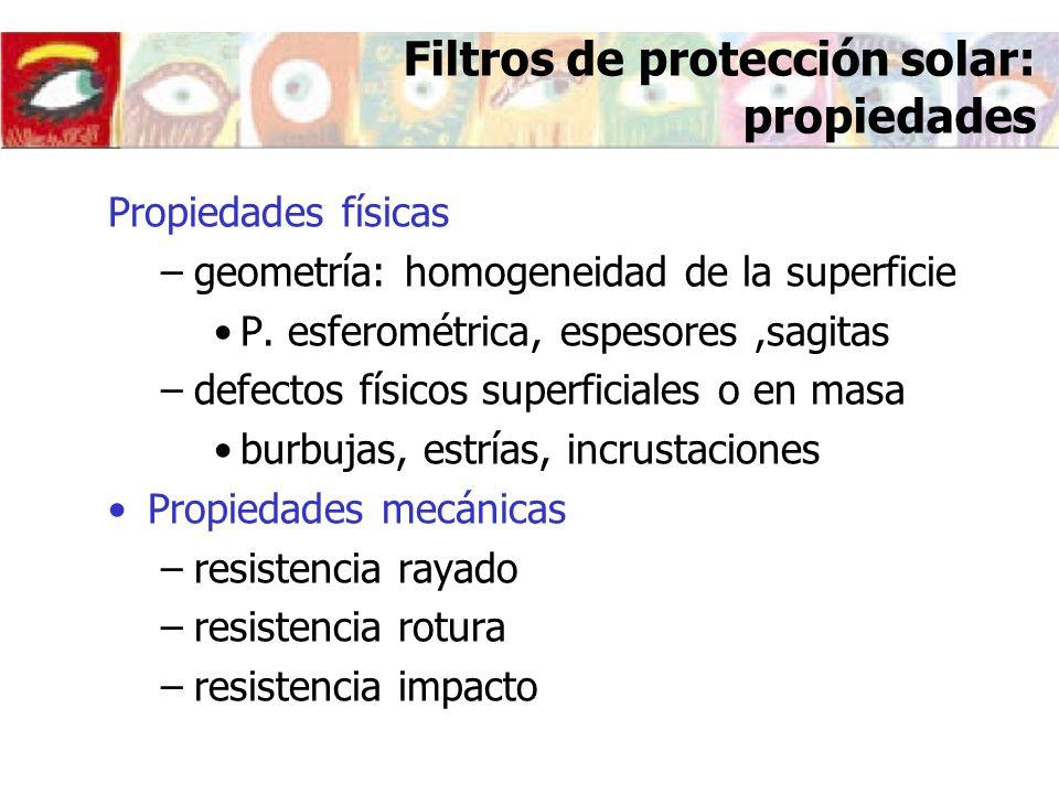 Filtros de protección solar: propiedades