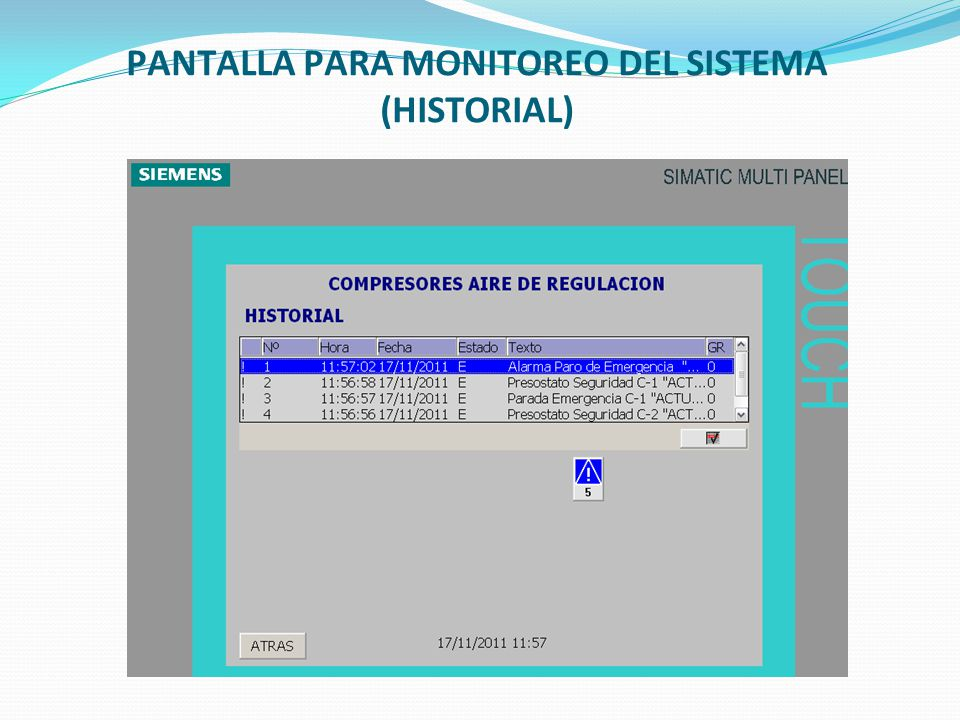 PANTALLA PARA MONITOREO DEL SISTEMA (HISTORIAL)