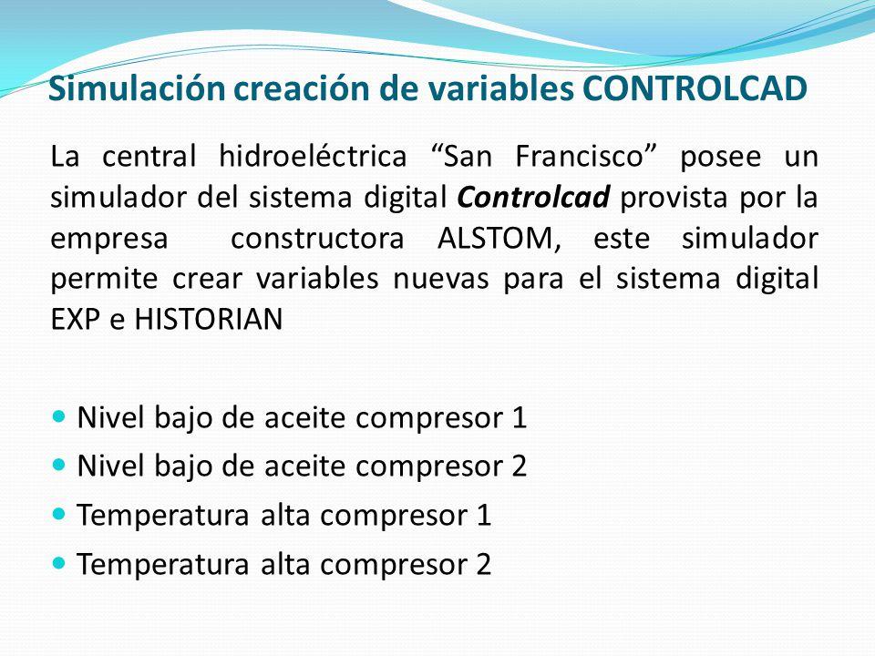 Simulación creación de variables CONTROLCAD
