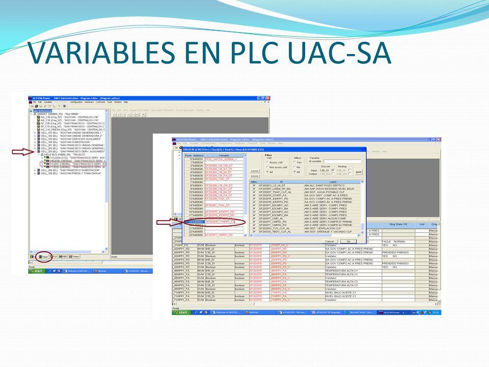 VARIABLES EN PLC UAC-SA