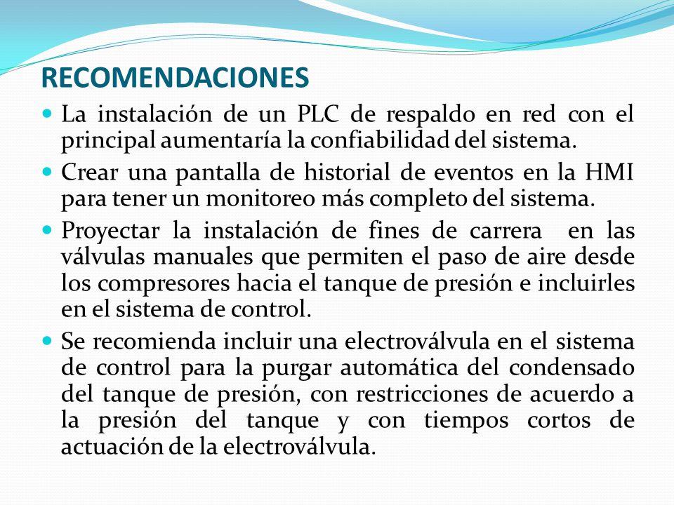 RECOMENDACIONES La instalación de un PLC de respaldo en red con el principal aumentaría la confiabilidad del sistema.