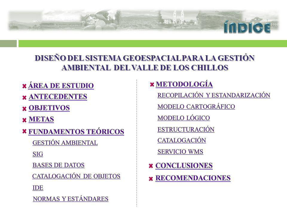 ÍNDICE DISEÑO DEL SISTEMA GEOESPACIAL PARA LA GESTIÓN AMBIENTAL DEL VALLE DE LOS CHILLOS. ÁREA DE ESTUDIO.