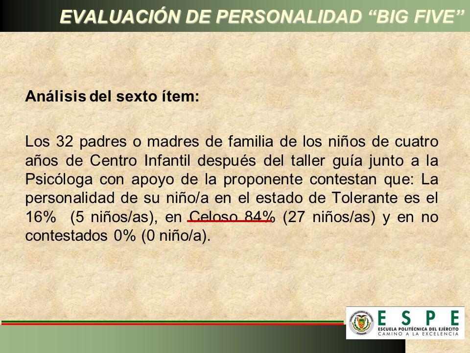 EVALUACIÓN DE PERSONALIDAD BIG FIVE