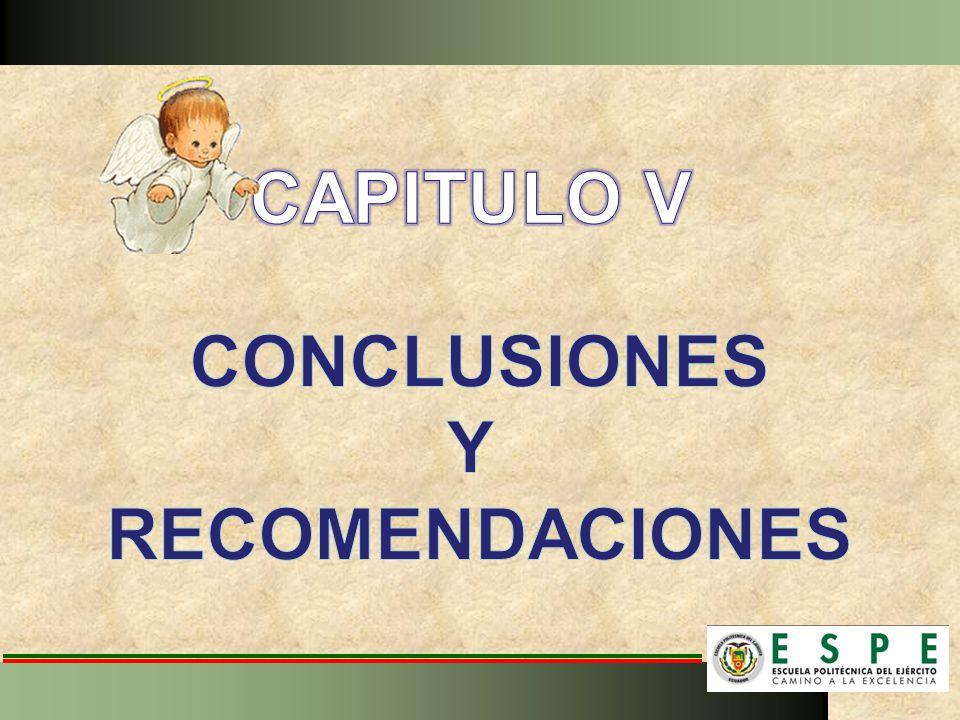 CAPITULO V CONCLUSIONES Y RECOMENDACIONES