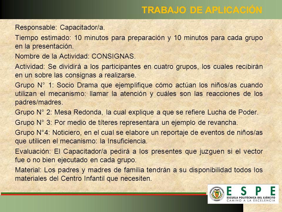 TRABAJO DE APLICACIÓN Responsable: Capacitador/a.