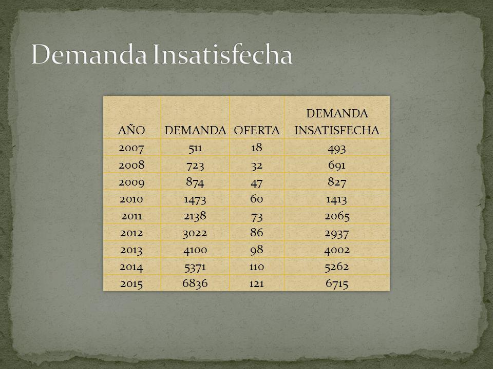 Demanda Insatisfecha AÑO DEMANDA OFERTA DEMANDA INSATISFECHA 2007 511
