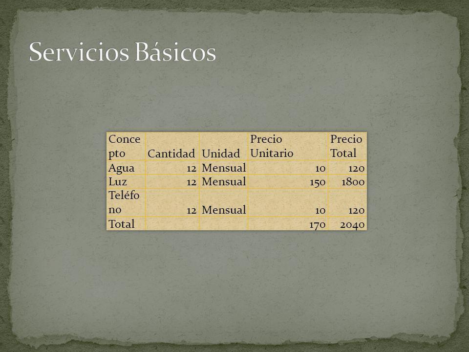 Servicios Básicos Concepto Cantidad Unidad Precio Unitario