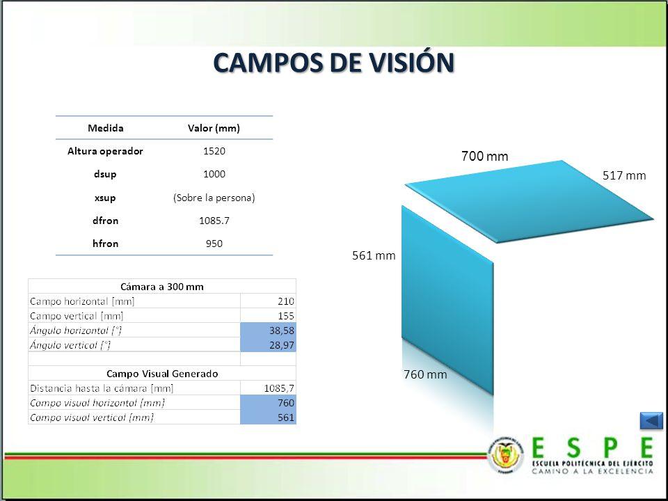 CAMPOS DE VISIÓN 700 mm 517 mm 561 mm 760 mm Medida Valor (mm)