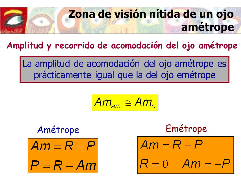 Zona de visión nítida de un ojo amétrope