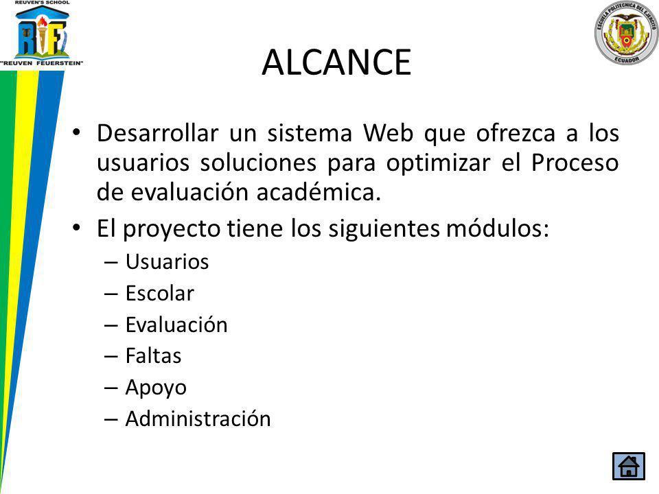 ALCANCE Desarrollar un sistema Web que ofrezca a los usuarios soluciones para optimizar el Proceso de evaluación académica.