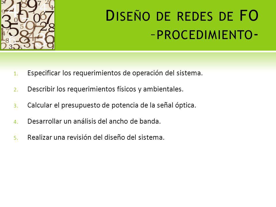 Diseño de redes de FO –procedimiento-