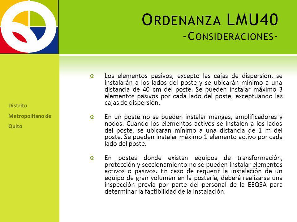 Ordenanza LMU40 -Consideraciones-