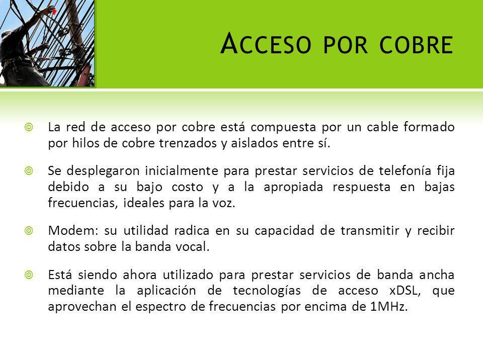 Acceso por cobre La red de acceso por cobre está compuesta por un cable formado por hilos de cobre trenzados y aislados entre sí.