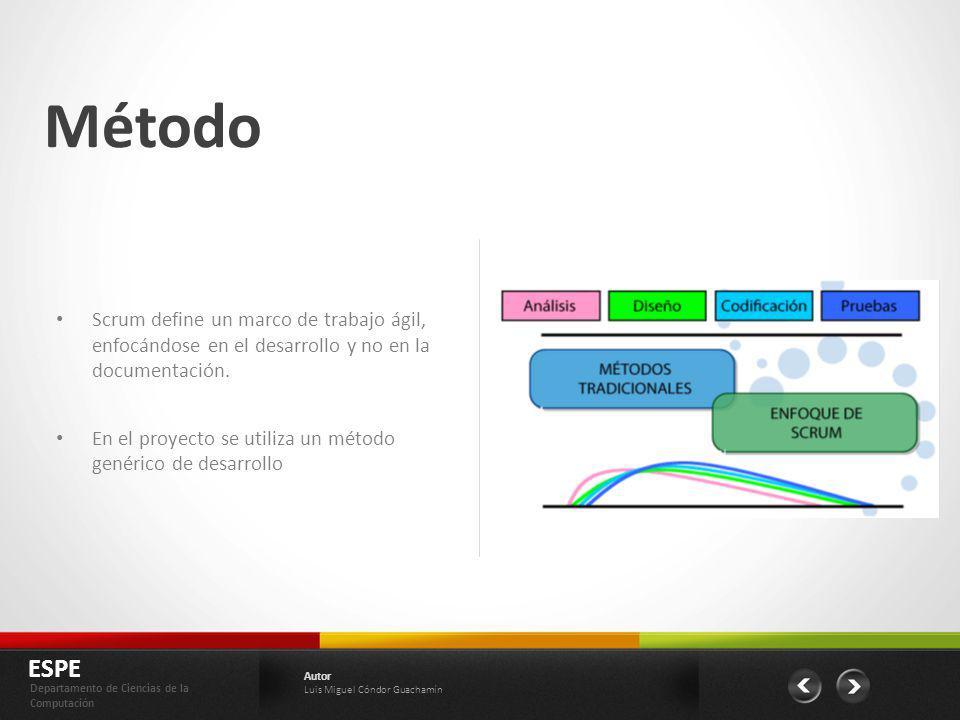 Método Scrum define un marco de trabajo ágil, enfocándose en el desarrollo y no en la documentación.