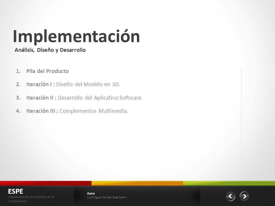 Implementación ESPE Análisis, Diseño y Desarrollo Pila del Producto