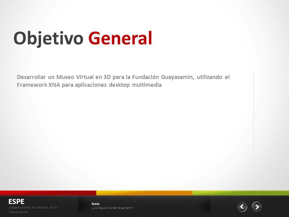 Objetivo General Desarrollar un Museo Virtual en 3D para la Fundación Guayasamín, utilizando el Framework XNA para aplicaciones desktop multimedia.