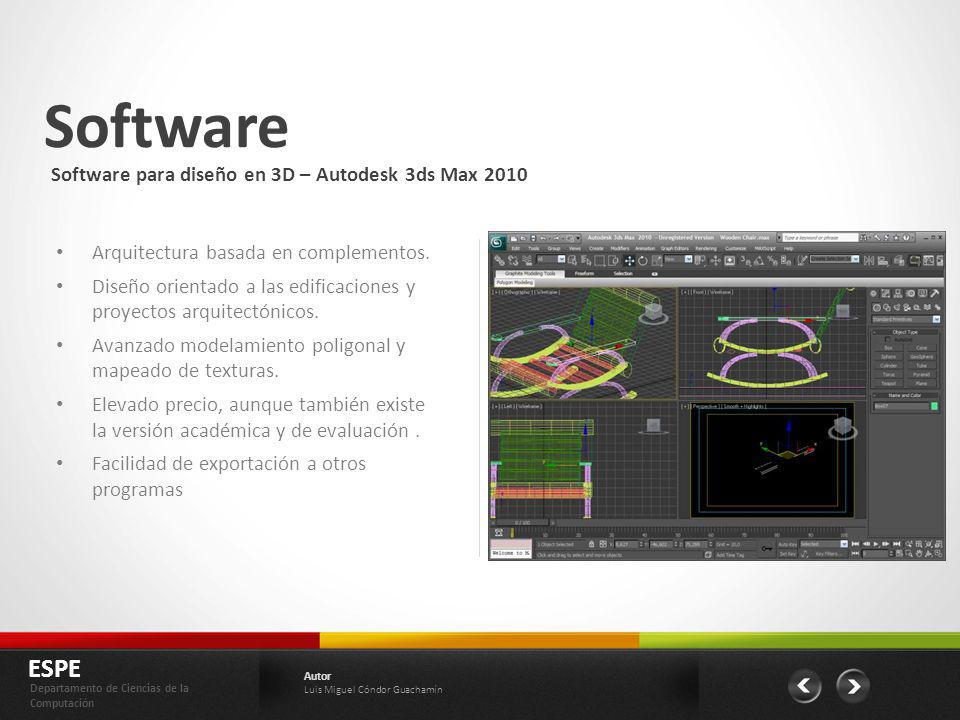 Software ESPE Software para diseño en 3D – Autodesk 3ds Max 2010