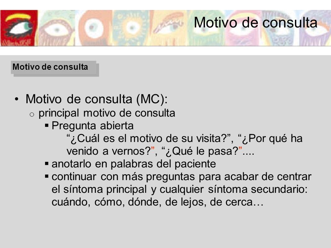 Motivo de consulta Motivo de consulta (MC):