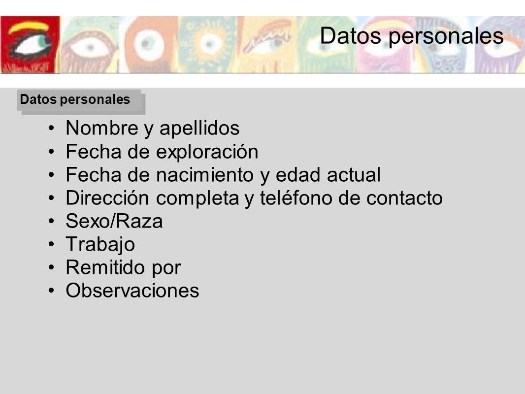 Datos personales Nombre y apellidos Fecha de exploración