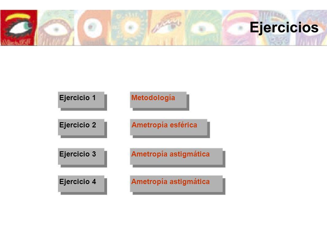 Ejercicios Ejercicio 1 Metodología Ejercicio 2 Ametropía esférica